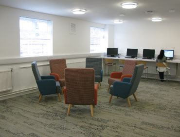 computer room with sit down area
